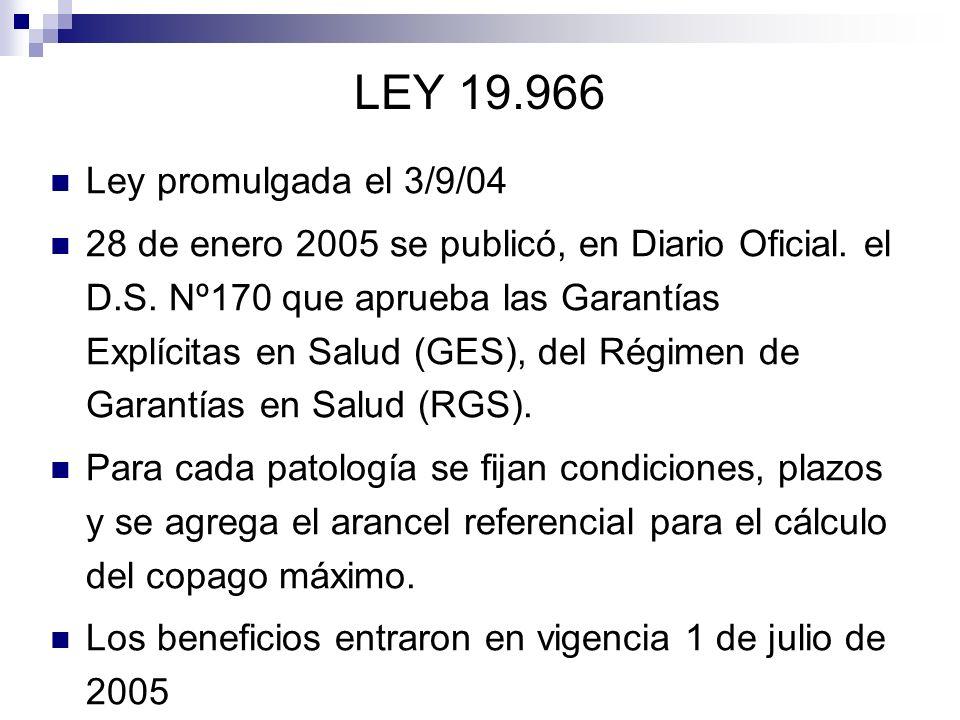 LEY 19.966 Ley promulgada el 3/9/04 28 de enero 2005 se publicó, en Diario Oficial. el D.S. Nº170 que aprueba las Garantías Explícitas en Salud (GES),