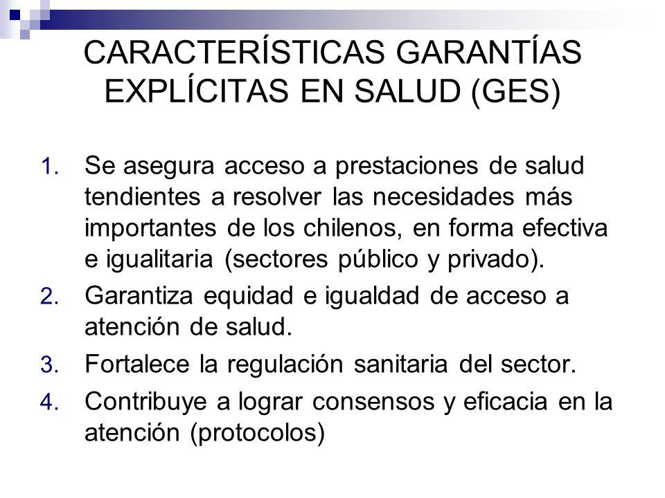 CARACTERÍSTICAS GARANTÍAS EXPLÍCITAS EN SALUD (GES) 1. Se asegura acceso a prestaciones de salud tendientes a resolver las necesidades más importantes