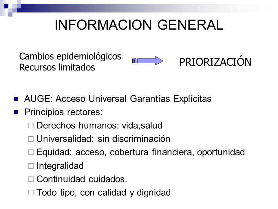 INFORMACION GENERAL AUGE: Acceso Universal Garantías Explícitas Principios rectores: Derechos humanos: vida,salud Universalidad: sin discriminación Eq