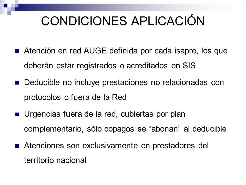 CONDICIONES APLICACIÓN Atención en red AUGE definida por cada isapre, los que deberán estar registrados o acreditados en SIS Deducible no incluye pres