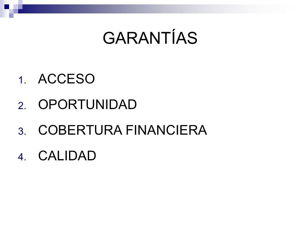 GARANTÍAS 1. ACCESO 2. OPORTUNIDAD 3. COBERTURA FINANCIERA 4. CALIDAD
