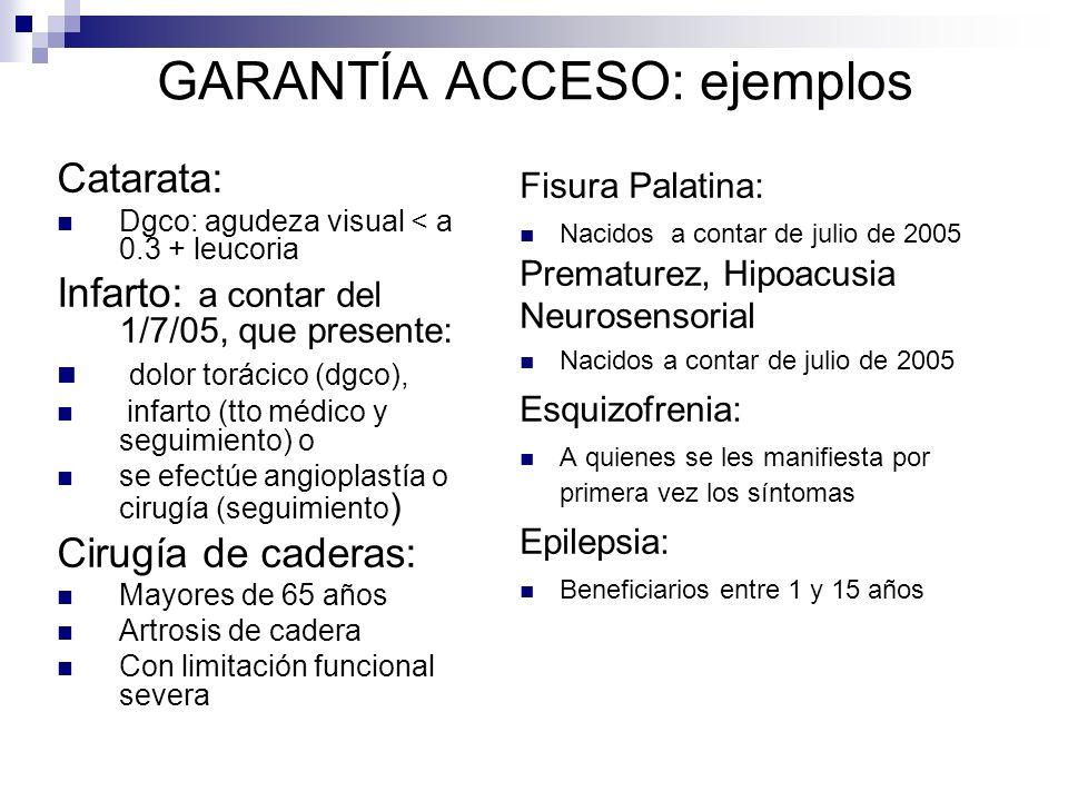 GARANTÍA ACCESO: ejemplos Catarata: Dgco: agudeza visual < a 0.3 + leucoria Infarto: a contar del 1/7/05, que presente: dolor torácico (dgco), infarto