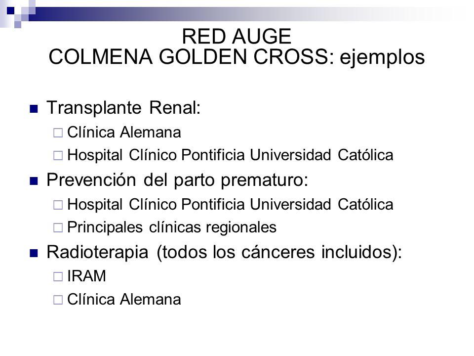 RED AUGE COLMENA GOLDEN CROSS: ejemplos Transplante Renal: Clínica Alemana Hospital Clínico Pontificia Universidad Católica Prevención del parto prema