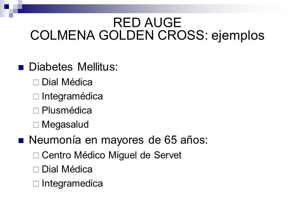 RED AUGE COLMENA GOLDEN CROSS: ejemplos Diabetes Mellitus: Dial Médica Integramédica Plusmédica Megasalud Neumonía en mayores de 65 años: Centro Médic
