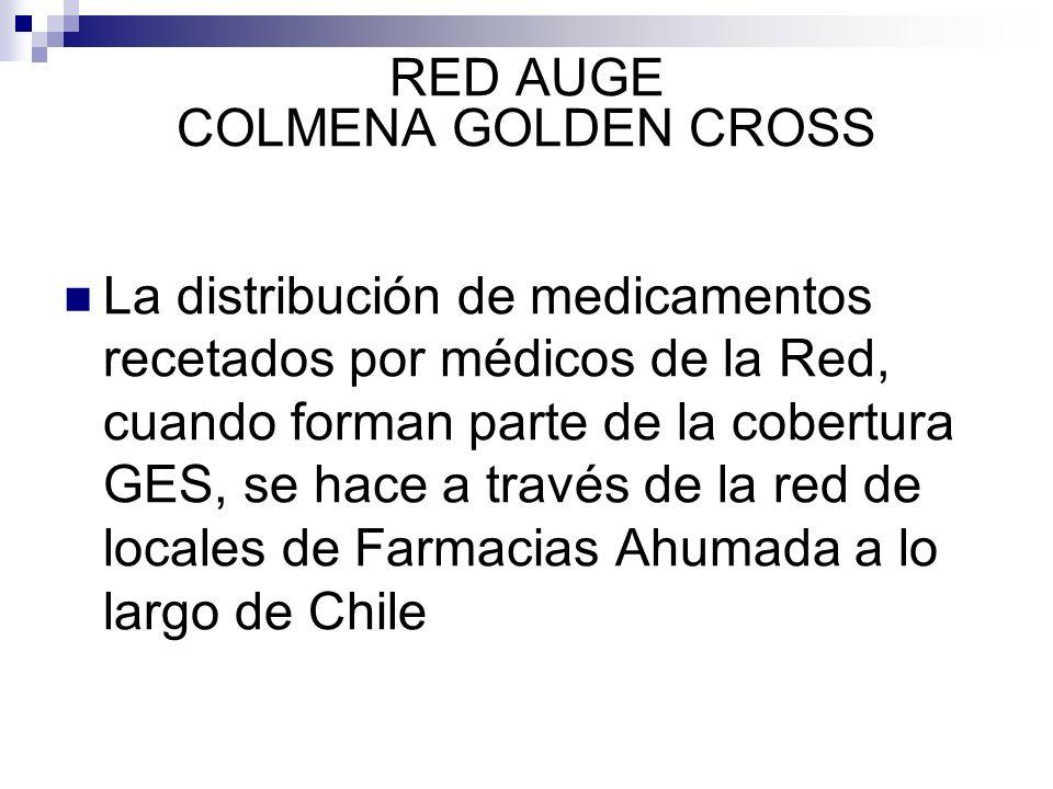 RED AUGE COLMENA GOLDEN CROSS La distribución de medicamentos recetados por médicos de la Red, cuando forman parte de la cobertura GES, se hace a trav