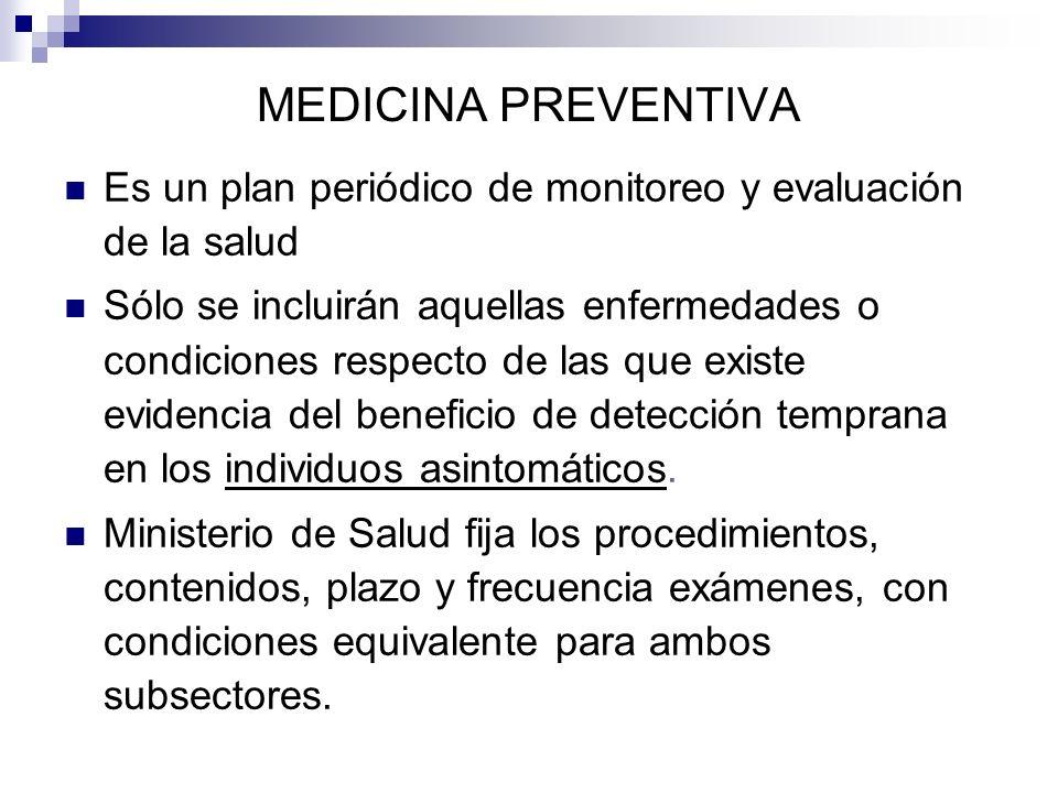 MEDICINA PREVENTIVA Es un plan periódico de monitoreo y evaluación de la salud Sólo se incluirán aquellas enfermedades o condiciones respecto de las q