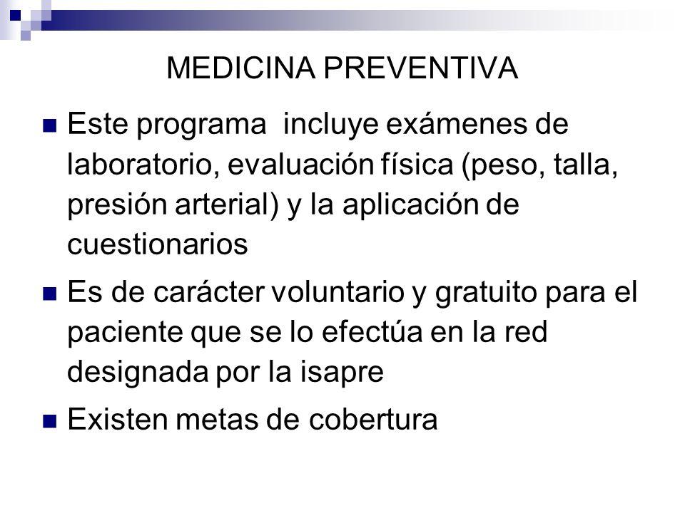 MEDICINA PREVENTIVA Este programa incluye exámenes de laboratorio, evaluación física (peso, talla, presión arterial) y la aplicación de cuestionarios