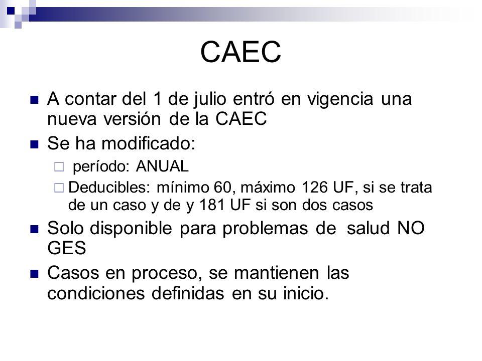 CAEC A contar del 1 de julio entró en vigencia una nueva versión de la CAEC Se ha modificado: período: ANUAL Deducibles: mínimo 60, máximo 126 UF, si