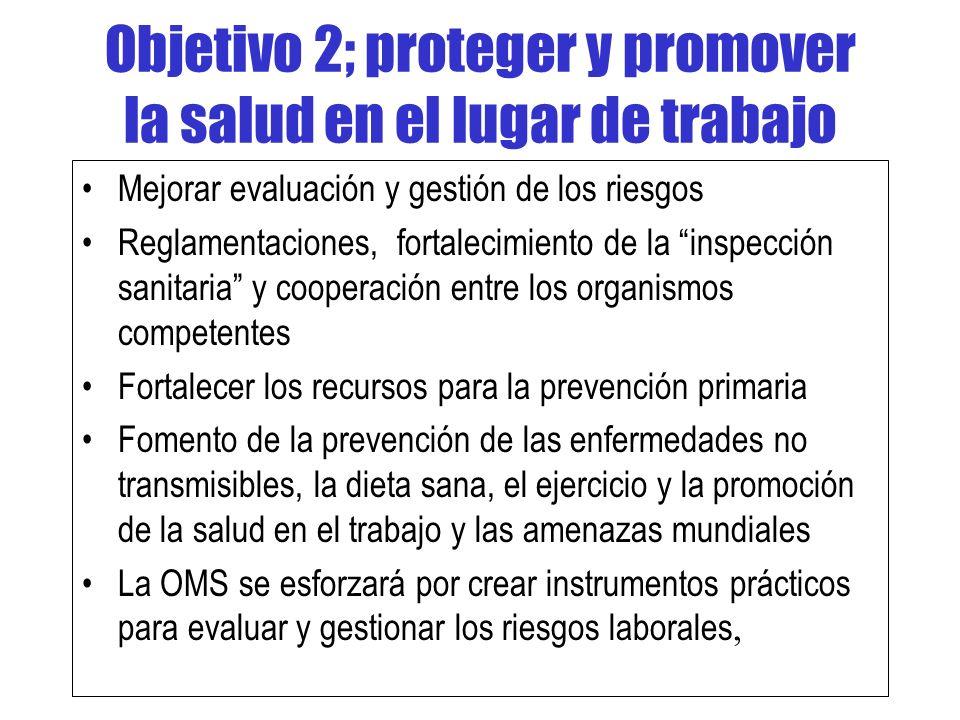 Objetivo 2; proteger y promover la salud en el lugar de trabajo Mejorar evaluación y gestión de los riesgos Reglamentaciones, fortalecimiento de la in