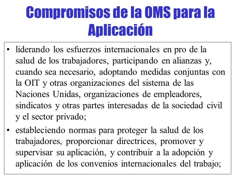 Compromisos de la OMS para la Aplicación liderando los esfuerzos internacionales en pro de la salud de los trabajadores, participando en alianzas y, c