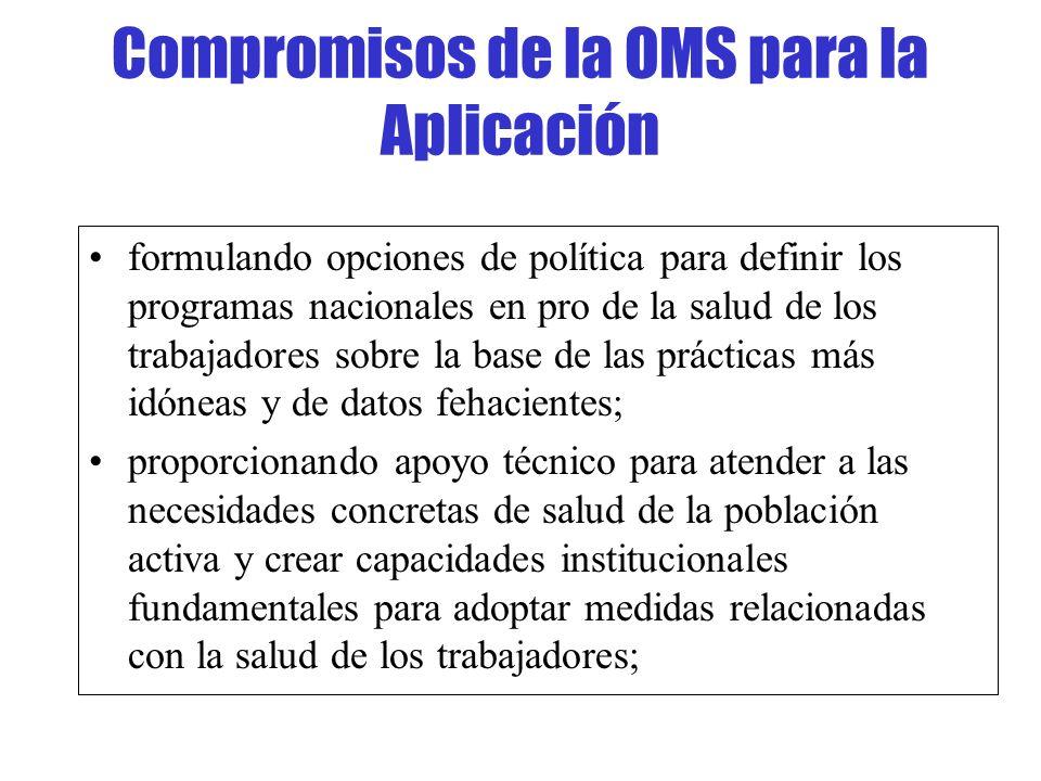 Compromisos de la OMS para la Aplicación formulando opciones de política para definir los programas nacionales en pro de la salud de los trabajadores