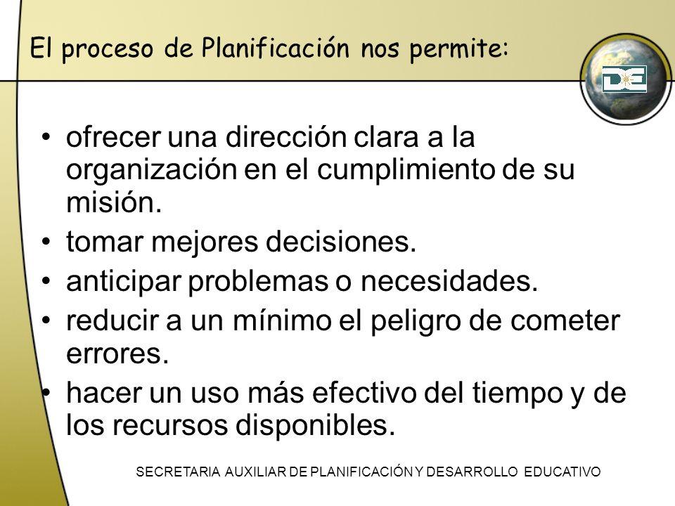 El proceso de Planificación nos permite: ofrecer una dirección clara a la organización en el cumplimiento de su misión. tomar mejores decisiones. anti
