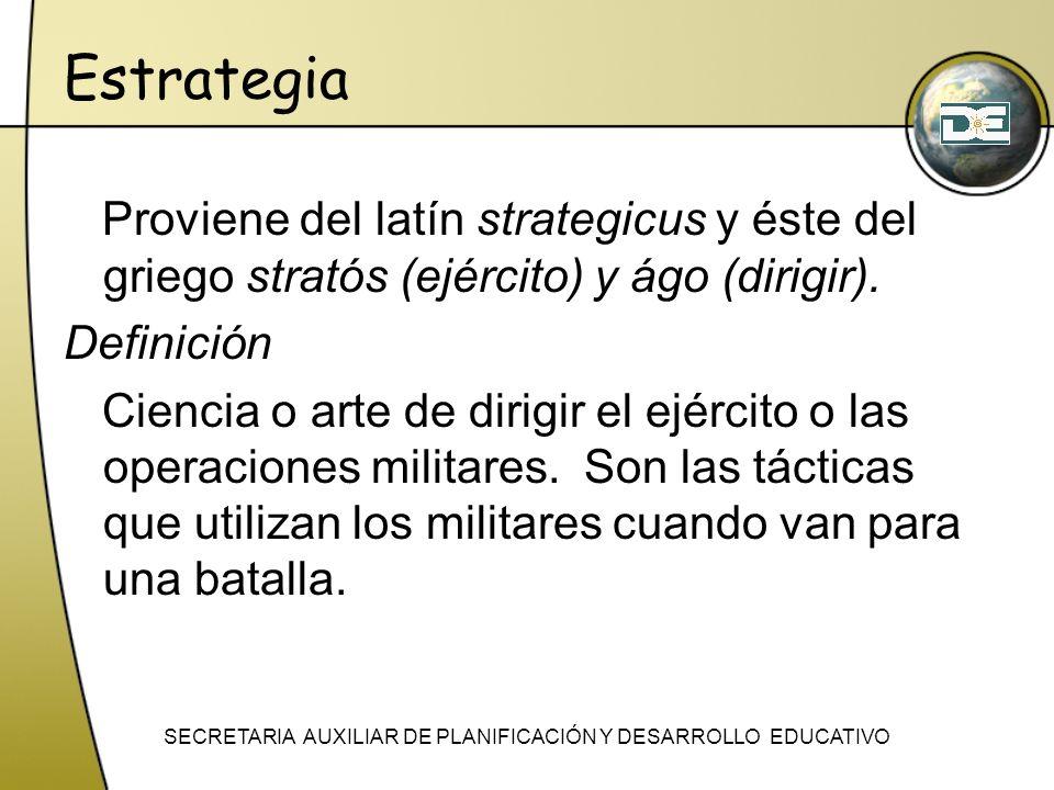 Estrategia Proviene del latín strategicus y éste del griego stratós (ejército) y ágo (dirigir). Definición Ciencia o arte de dirigir el ejército o las