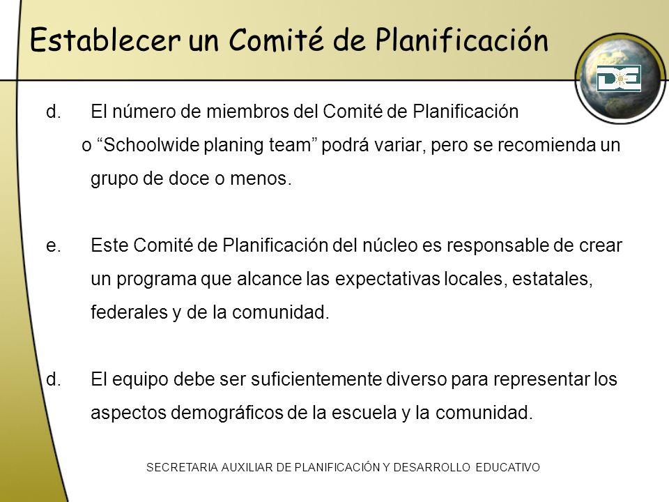 d.El número de miembros del Comité de Planificación o Schoolwide planing team podrá variar, pero se recomienda un grupo de doce o menos. e.Este Comité