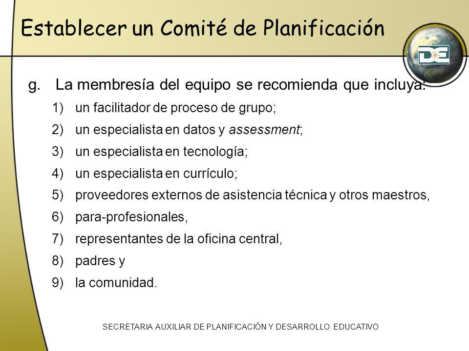 g.La membresía del equipo se recomienda que incluya: 1)un facilitador de proceso de grupo; 2)un especialista en datos y assessment; 3)un especialista