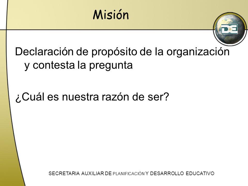 Misión Declaración de propósito de la organización y contesta la pregunta ¿Cuál es nuestra razón de ser? SECRETARIA AUXILIAR DE PLANIFICACIÓN Y DESARR