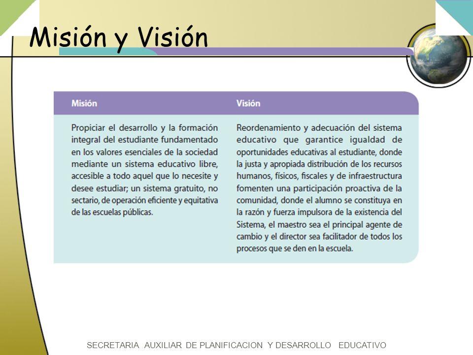 SECRETARIA AUXILIAR DE PLANIFICACION Y DESARROLLO EDUCATIVO Misión y Visión