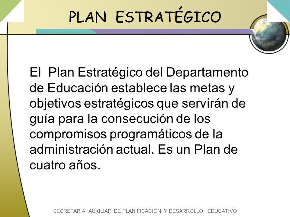SECRETARIA AUXILIAR DE PLANIFICACION Y DESARROLLO EDUCATIVO PLAN ESTRATÉGICO El Plan Estratégico del Departamento de Educación establece las metas y o