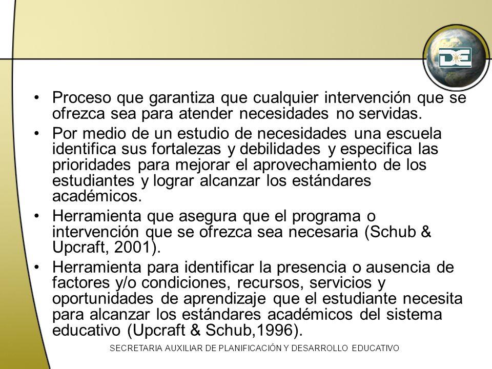 Proceso que garantiza que cualquier intervención que se ofrezca sea para atender necesidades no servidas. Por medio de un estudio de necesidades una e