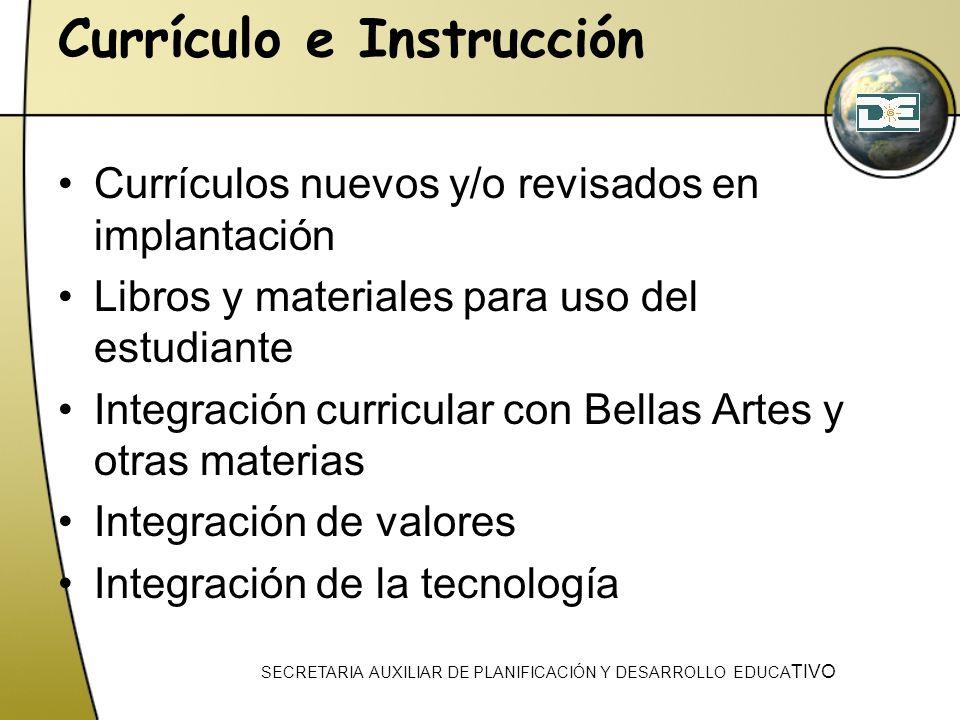Currículo e Instrucción Currículos nuevos y/o revisados en implantación Libros y materiales para uso del estudiante Integración curricular con Bellas
