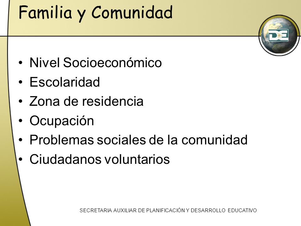 Familia y Comunidad Nivel Socioeconómico Escolaridad Zona de residencia Ocupación Problemas sociales de la comunidad Ciudadanos voluntarios SECRETARIA