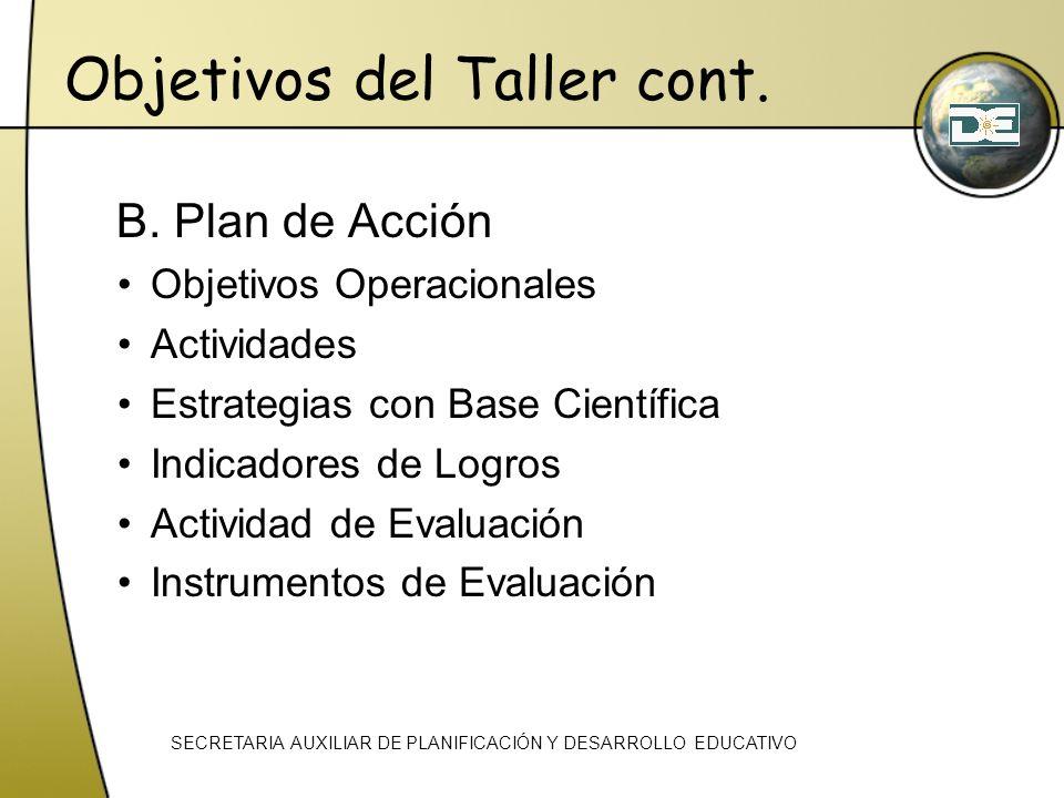 Objetivos del Taller cont. B. Plan de Acción Objetivos Operacionales Actividades Estrategias con Base Científica Indicadores de Logros Actividad de Ev