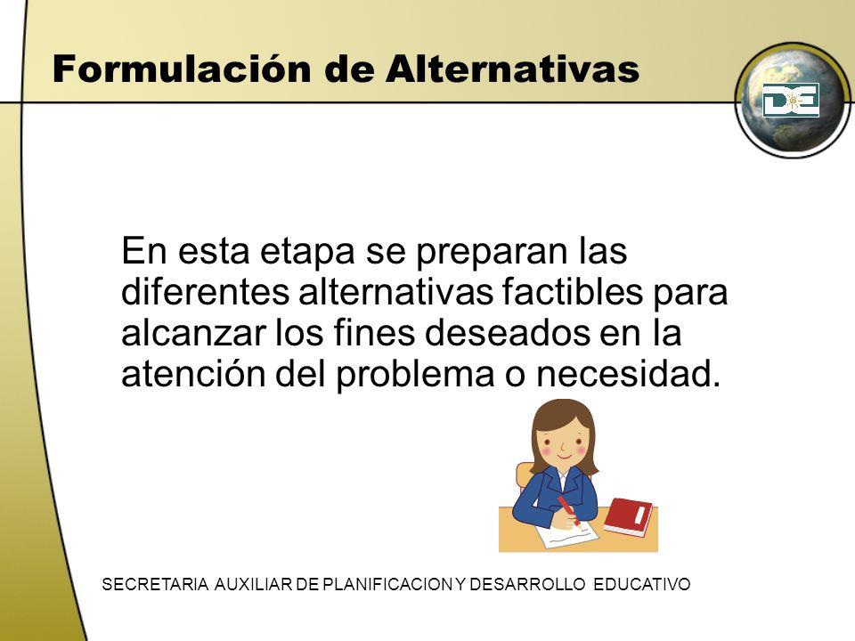 Formulación de Alternativas En esta etapa se preparan las diferentes alternativas factibles para alcanzar los fines deseados en la atención del proble