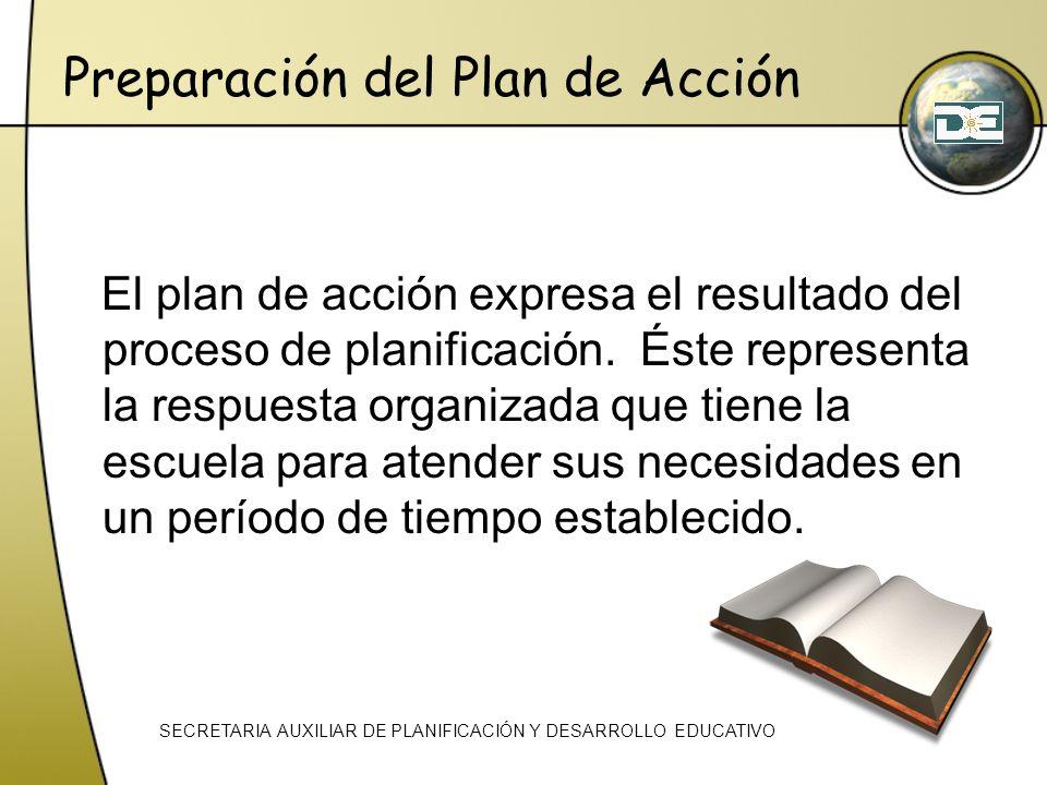 Preparación del Plan de Acción El plan de acción expresa el resultado del proceso de planificación. Éste representa la respuesta organizada que tiene