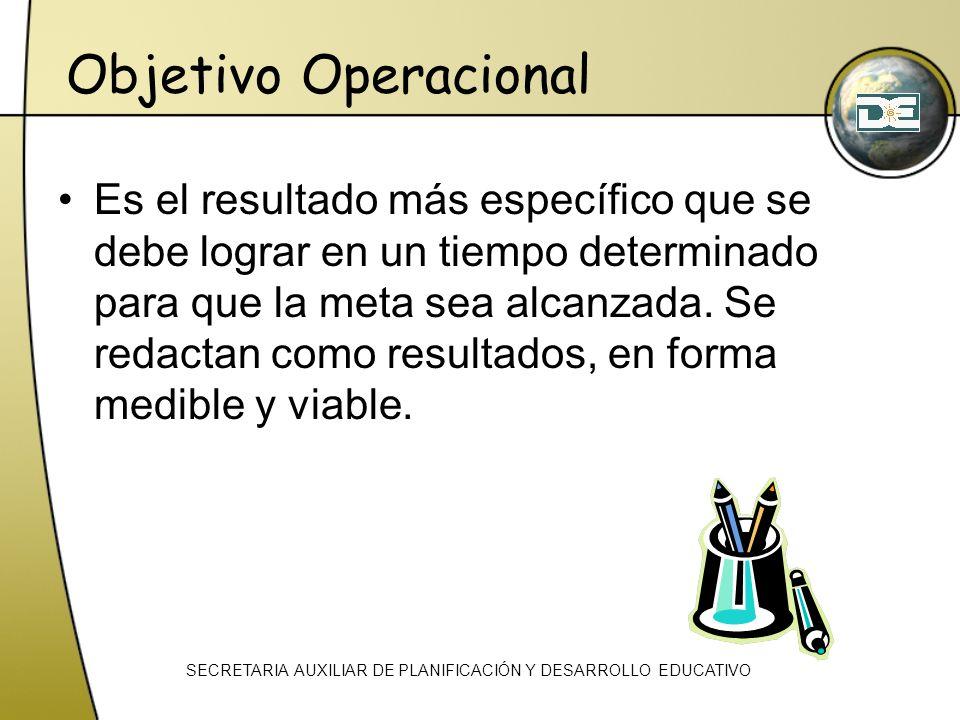 Objetivo Operacional Es el resultado más específico que se debe lograr en un tiempo determinado para que la meta sea alcanzada. Se redactan como resul