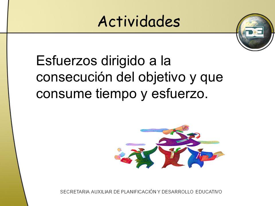 Actividades Esfuerzos dirigido a la consecución del objetivo y que consume tiempo y esfuerzo. SECRETARIA AUXILIAR DE PLANIFICACIÓN Y DESARROLLO EDUCAT