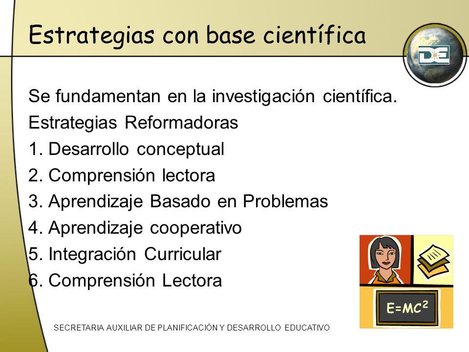 Estrategias con base científica Se fundamentan en la investigación científica. Estrategias Reformadoras 1. Desarrollo conceptual 2. Comprensión lector