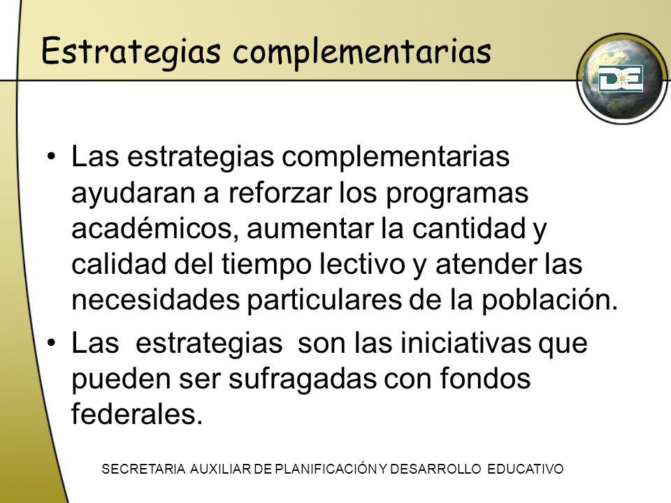 Estrategias complementarias Las estrategias complementarias ayudaran a reforzar los programas académicos, aumentar la cantidad y calidad del tiempo le