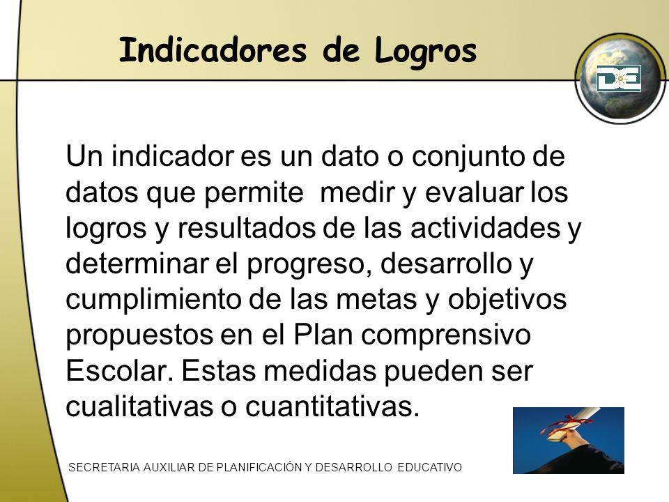 Indicadores de Logros Un indicador es un dato o conjunto de datos que permite medir y evaluar los logros y resultados de las actividades y determinar
