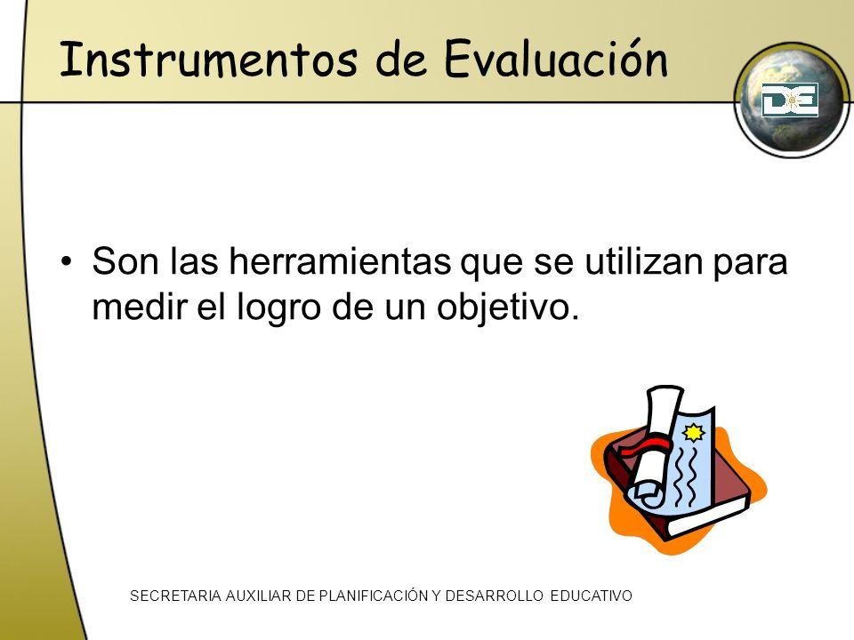 Instrumentos de Evaluación Son las herramientas que se utilizan para medir el logro de un objetivo. SECRETARIA AUXILIAR DE PLANIFICACIÓN Y DESARROLLO