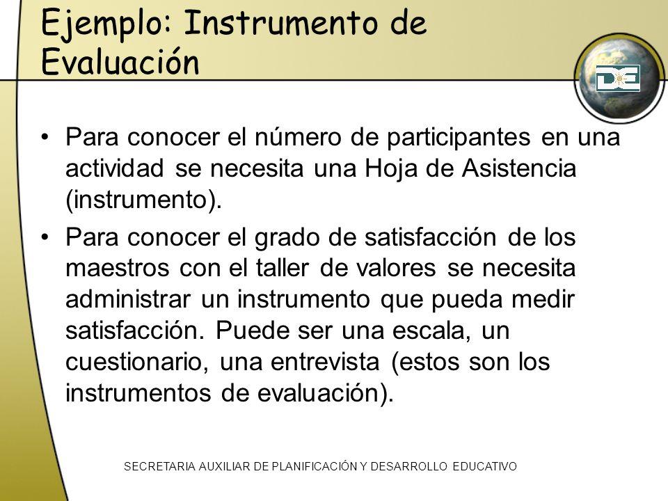 Ejemplo: Instrumento de Evaluación Para conocer el número de participantes en una actividad se necesita una Hoja de Asistencia (instrumento). Para con
