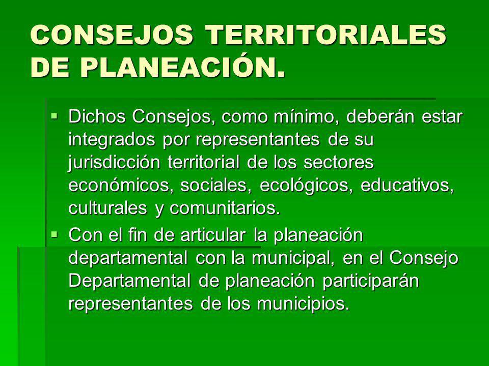 CONSEJOS TERRITORIALES DE PLANEACIÓN. Dichos Consejos, como mínimo, deberán estar integrados por representantes de su jurisdicción territorial de los