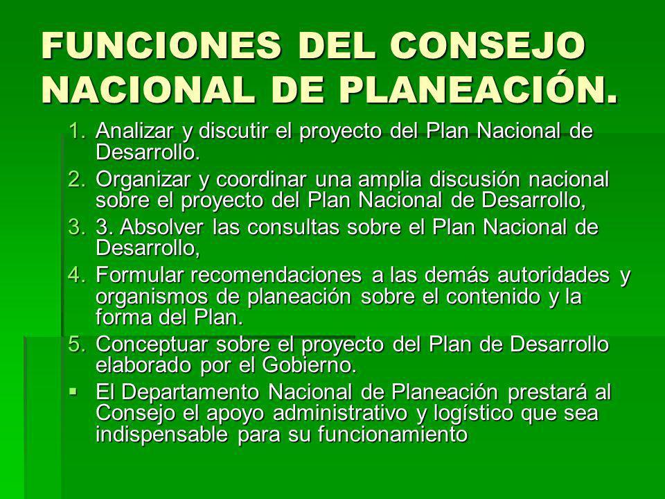 FUNCIONES DEL CONSEJO NACIONAL DE PLANEACIÓN. 1.Analizar y discutir el proyecto del Plan Nacional de Desarrollo. 2.Organizar y coordinar una amplia di