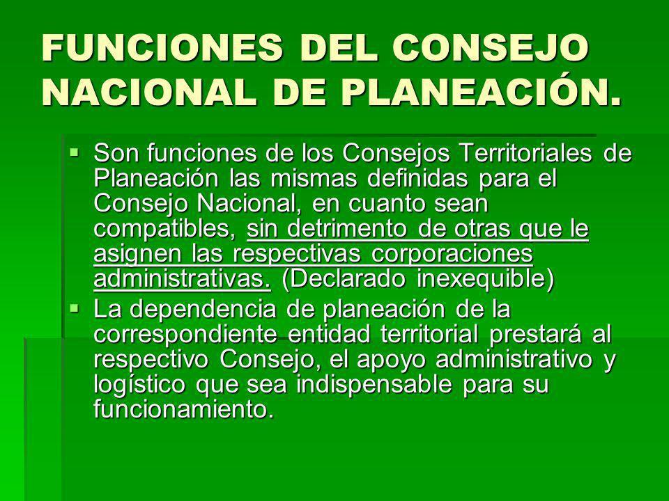 FUNCIONES DEL CONSEJO NACIONAL DE PLANEACIÓN. Son funciones de los Consejos Territoriales de Planeación las mismas definidas para el Consejo Nacional,