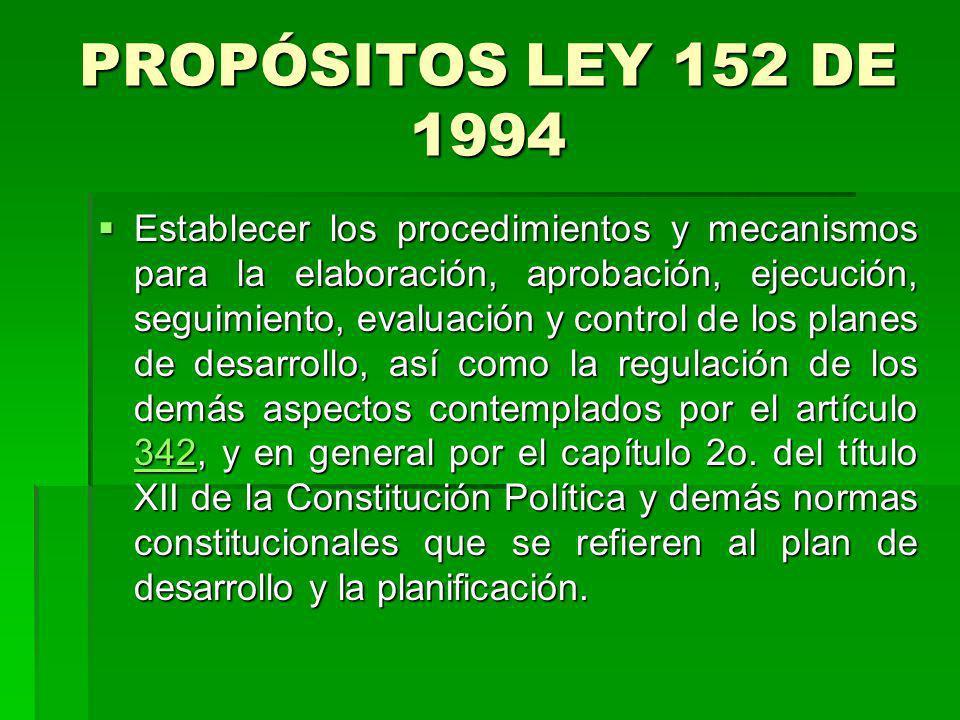 PROPÓSITOS LEY 152 DE 1994 Establecer los procedimientos y mecanismos para la elaboración, aprobación, ejecución, seguimiento, evaluación y control de