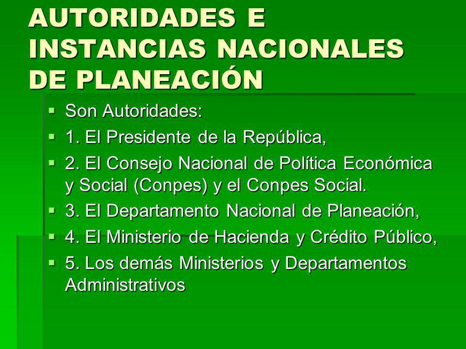 AUTORIDADES E INSTANCIAS NACIONALES DE PLANEACIÓN Son Autoridades: Son Autoridades: 1. El Presidente de la República, 1. El Presidente de la República