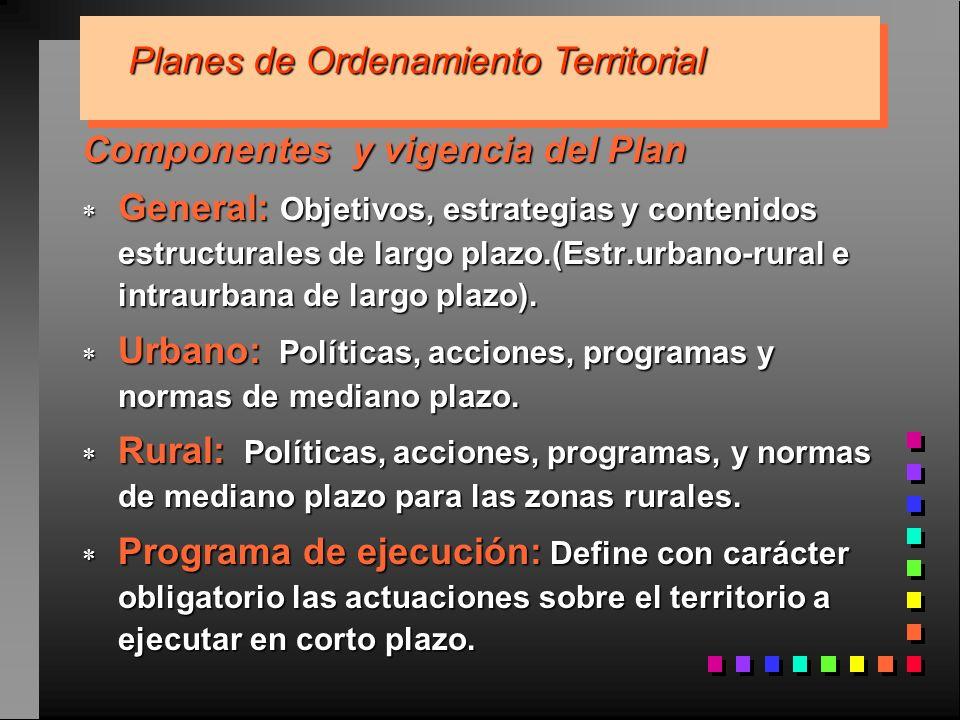 Componentes y vigencia del Plan General: Objetivos, estrategias y contenidos estructurales de largo plazo.(Estr.urbano-rural e intraurbana de largo pl