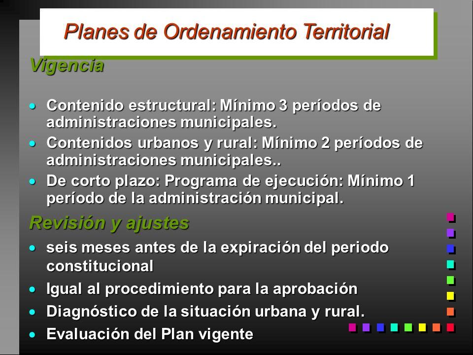 Vigencia Contenido estructural: Mínimo 3 períodos de administraciones municipales. Contenido estructural: Mínimo 3 períodos de administraciones munici