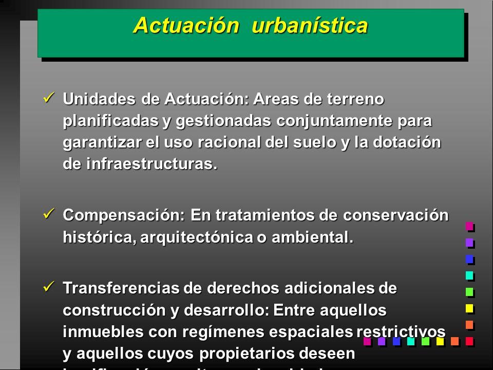 Actuación urbanística Unidades de Actuación: Areas de terreno planificadas y gestionadas conjuntamente para garantizar el uso racional del suelo y la