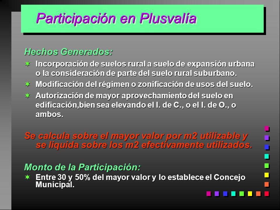 Participación en Plusvalía Participación en Plusvalía Hechos Generados: Incorporación de suelos rural a suelo de expansión urbana o la consideración d