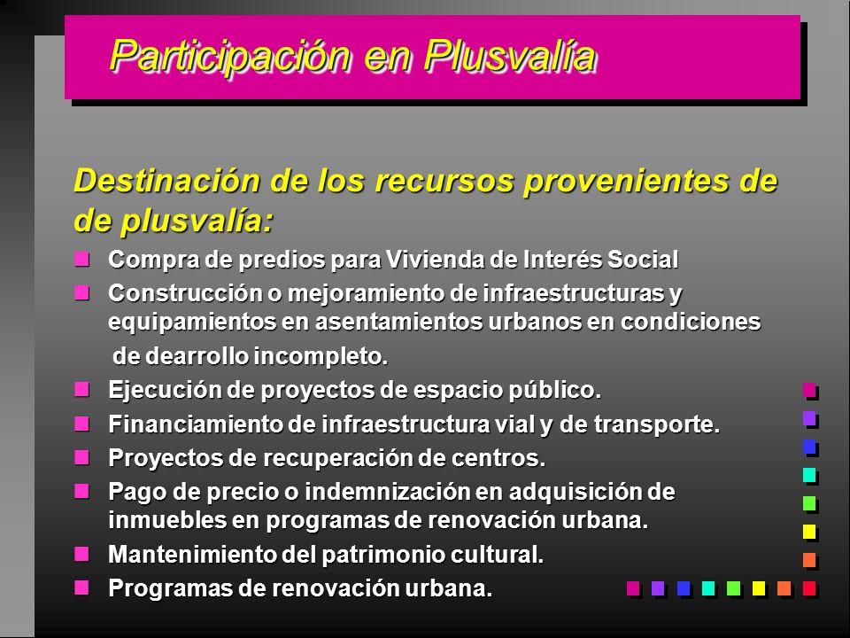 Participación en Plusvalía Participación en Plusvalía Destinación de los recursos provenientes de de plusvalía: Compra de predios para Vivienda de Int