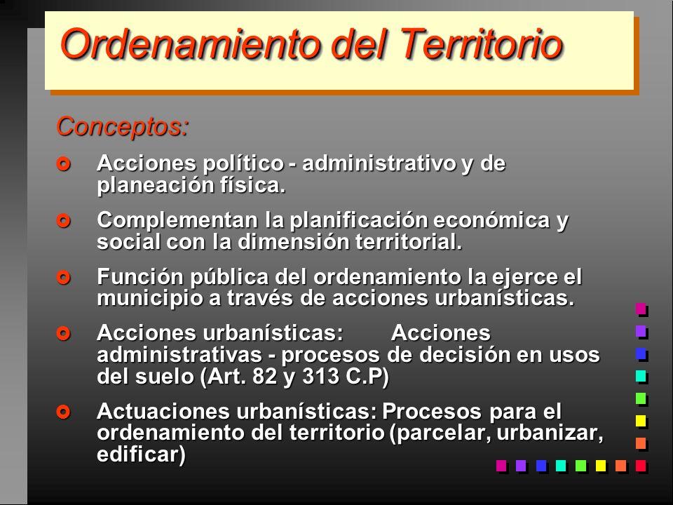 Ordenamiento del Territorio Conceptos: Acciones político - administrativo y de planeación física. Acciones político - administrativo y de planeación f