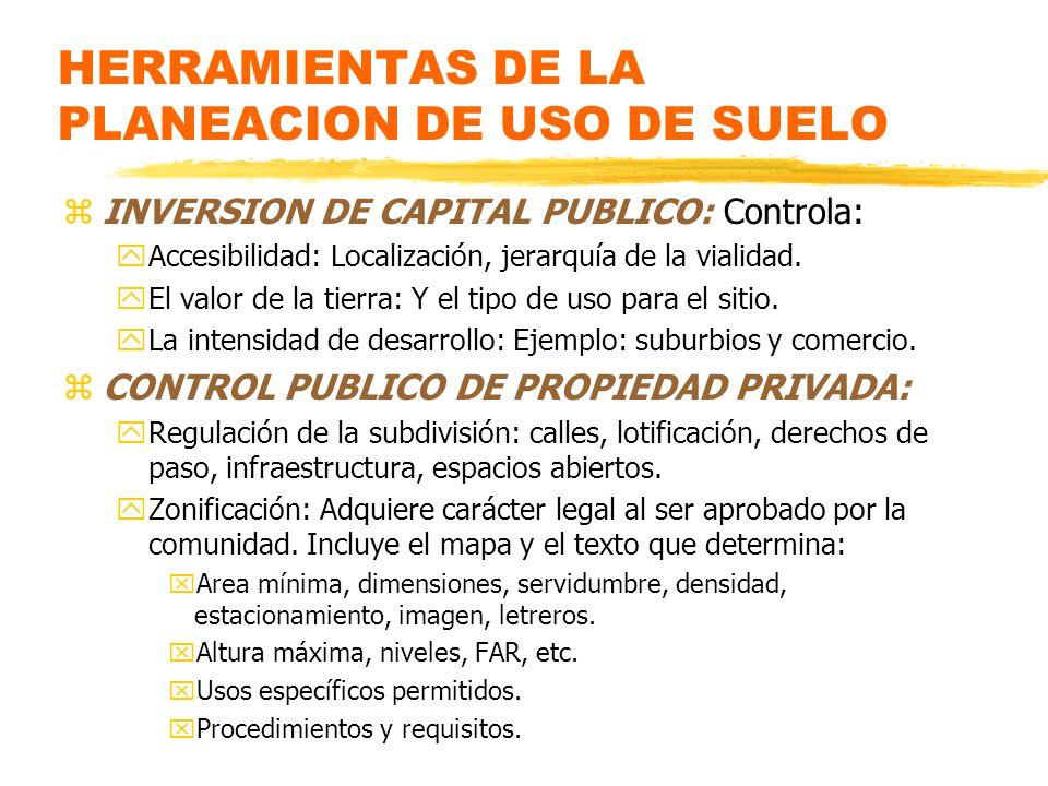HERRAMIENTAS DE LA PLANEACION DE USO DE SUELO zINVERSION DE CAPITAL PUBLICO: Controla: yAccesibilidad: Localización, jerarquía de la vialidad. yEl val