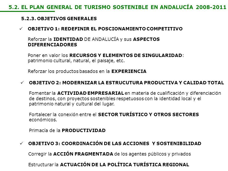 5.2. EL PLAN GENERAL DE TURISMO SOSTENIBLE EN ANDALUCÍA 2008-2011 5.2.3. OBJETIVOS GENERALES OBJETIVO 1: REDEFINIR EL POSCIONAMIENTO COMPETITIVO Refor