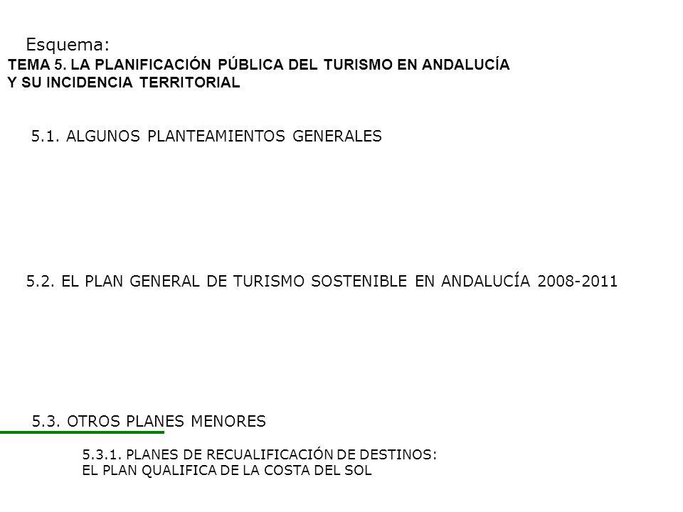 5.2. EL PLAN GENERAL DE TURISMO SOSTENIBLE EN ANDALUCÍA 2008-2011 Esquema: 5.1. ALGUNOS PLANTEAMIENTOS GENERALES TEMA 5. LA PLANIFICACIÓN PÚBLICA DEL
