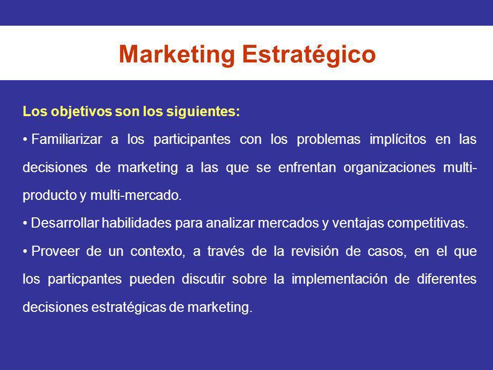 Los objetivos son los siguientes: Familiarizar a los participantes con los problemas implícitos en las decisiones de marketing a las que se enfrentan